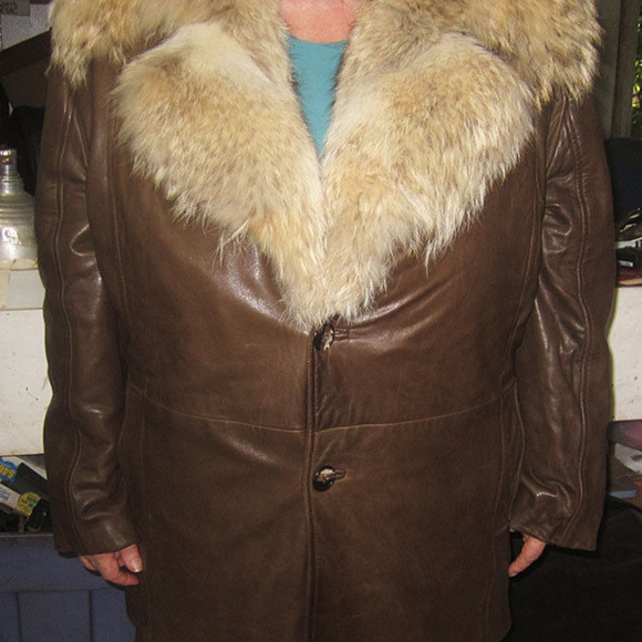 Coyote and Leather Other - leather coyote fur coat with removable fur vest
